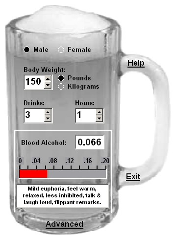 Click to view Cheers! Blood Alcohol Calculator 2.3 screenshot