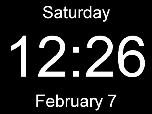 Huge Clock is a very large digital clock. The black background covers everything including the task bar on the bottom. It has no frame so there are no borders. It shows the time, date, and day of the week. That is all it does. Just a clock.